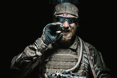 US Army soldier smoking Stock Images