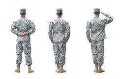 US Army soldier in three positions isolated on whi Stock Image