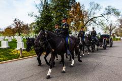 US Army Soldiers on Horses at Arlington Cemetery Royalty Free Stock Photography