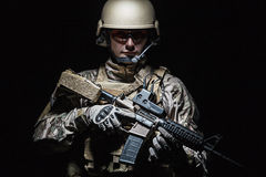 US Army Special Forces Group soldier. Green Berets US Army Special Forces Group soldier studio shot Royalty Free Stock Image