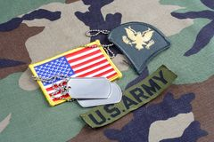 US ARMY Specialist rank patch, branch tape, flag patch and dog tags on woodland camouflage uniform. Background Royalty Free Stock Images