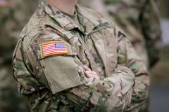 US Army troops. US Army soldiers take part at a military parade stock images