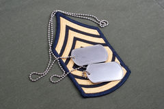 Us army uniform with blank dog tags Royalty Free Stock Photography