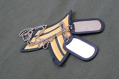 Us army uniform with blank dog tags Stock Images