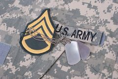 Us army uniform with blank dog tags Stock Photography