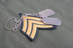 Us army uniform with blank dog tags Stock Photos