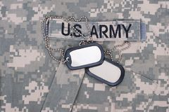 Us army uniform with blank dog tags Stock Photos