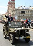 US army veteran - old hero. US army veteran in military vehicles before Great Synagogue - Pilsen City Czech Republic Europe - Anniversary ends second world wars Royalty Free Stock Image