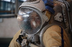 US Astronaut Michael Barratt After Training. Michael Barrat is in the Orlan Russian-made space suit after underwater training at the Russian Hydrolab water Stock Image