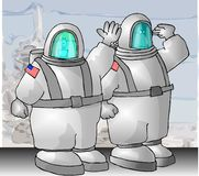 US Astronauts. This illustration that I created depicts a comical caricature of a male & female U.S. Astronaut Stock Images