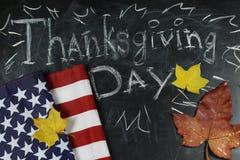 US autumn holidays chalk board stock photos