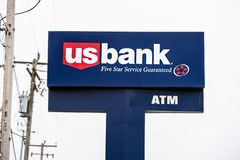 US Bank logo on the banner stock images