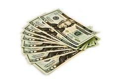 US-Bargeld ausgebreitet in einem Gebläse-Muster Stockbilder