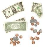US-Bargeld getrennt auf Weiß Lizenzfreie Stockfotografie