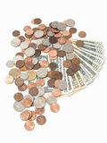 US Bills and Coins Royalty Free Stock Images