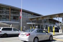US border customs. Cars were waiting to cross the US - Canada border in Washington, USA royalty free stock image
