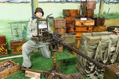 US Browning M2 machine gun. Beautiful view of WWII equipment US Browning M2 machine gun in the museum Musee Memorial d`Omaha Beach, in Normandy, France, on stock images