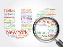 US-Buchstaben mit Stadtnamen-Wortwolke Stockbild
