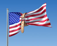 US budget crisis. 3D concept with USA flag and tighten belt Royalty Free Stock Images