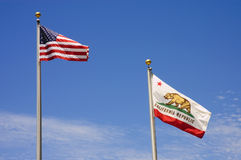 US and California Flag Stock Photo