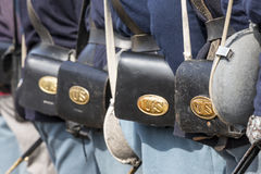 US calvary. Union soldiers lined up with US ammo bags in a line Royalty Free Stock Photos