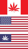 US and Canada legalize flags. Representing the direction the US an Canada are taking towards marijuana laws Royalty Free Stock Images