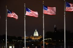 US Capital Building with US Flags flying Stock Image