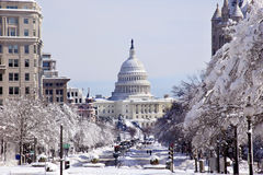 US Capital Pennsylvania Avenue Snow Washington DC Royalty Free Stock Photo