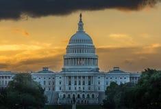 US Capital Sunrise. Sun rising behind the US Capital royalty free stock photos