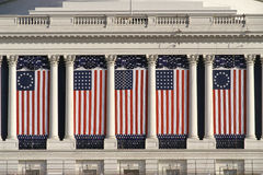 US Capitol Building with American flags Royalty Free Stock Images