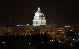 US Capitol Building II. Nighttime photo of the US Capitol Building stock photo
