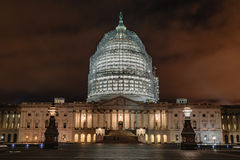 US Capitol Building at Night. The iconic dome of the US Capitol Building under construction at night Royalty Free Stock Photo