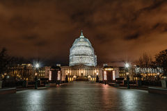 US Capitol Building at Night. The iconic dome of the US Capitol Building under construction at night Royalty Free Stock Images
