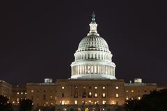 US Capitol building at night in summer. Washington DC. USA stock photography