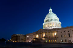 US Capitol building at night. View on the US Capitol building on dusk Royalty Free Stock Photography