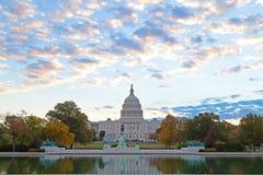 US Capitol building, Washington DC. Autumn colors at dawn around US Capitol building in Washington DC Stock Photos