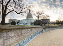 US Capitol Building Washington DC from Stone Retaining Wall Stock Photography