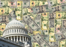 US capitol and cash. US capitol Building and American dollars illustration Royalty Free Stock Photography