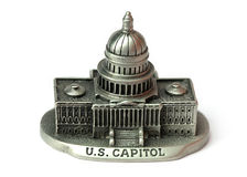US Capitol die cast model. Close up shot of US Capitol die cast model created with multi image focus stacking royalty free stock photos