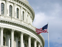 US Capitol Dome with American flag royalty free stock photo