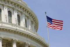 US Capitol dome detail with flag Royalty Free Stock Photo