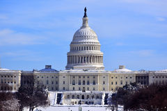 US Capitol Dome Houses Congress Snow Washington DC Royalty Free Stock Photo