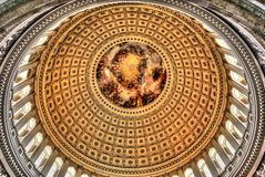 US Capitol Dome Interior. Apothesis of George Washington, Rotunda, US Capitol Dome Royalty Free Stock Images