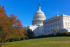Autumn colors near the United States Capitol building in Washington DC, USA. US Capitol dome recently undergone the multi-year restoration project to repair the Stock Photos