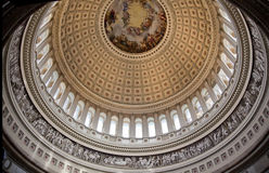 US Capitol Dome Rotunda Washington DC. Apothesis of George Washington, Rotunda, US Capitol Round Dome Close Up Inside Washington DC Royalty Free Stock Photos