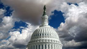 US Capitol Dome with Time Lapse Storm Clouds. United States Capitol dome with time lapse storm clouds stock video footage