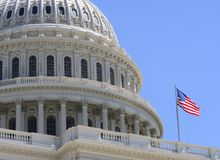 US Capitol Flag Royalty Free Stock Photo