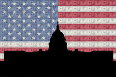 US capitol with flag Royalty Free Stock Photos