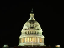 US Capitol at Night. View of a detail of the US Capitol at night stock photo