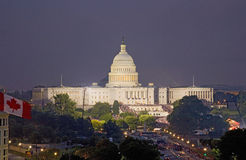 US Capitol at night on July 4, Stock Images